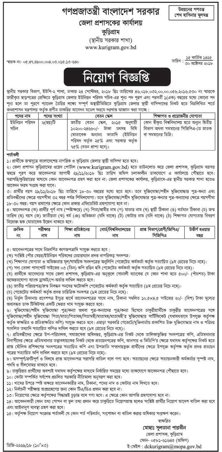 Kurigram District Job Circular 2018