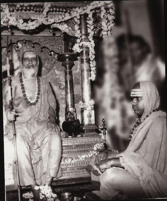 abhinava vidya theertha swami, jagadguru, maha swamigal, swami bharathi theertha with his guru, shankaracharya.