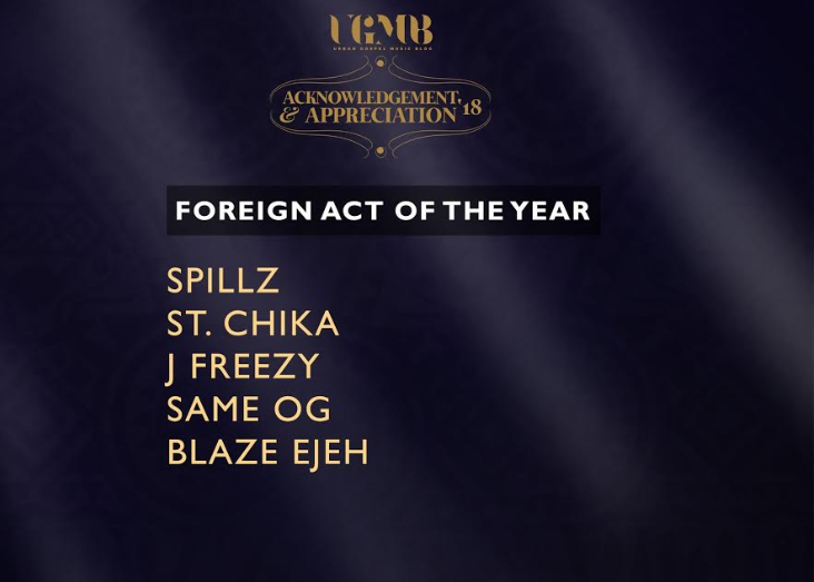 St. Chika gets nominated for Ghana's UGMB 2018 Foreign Act of the Year