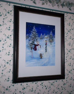 Snowman/Rabbit  8x10 painting in matted 11x14 black frame