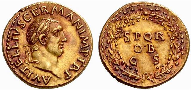 áureo de Vitelio procedente del tesoro de Boscoreale