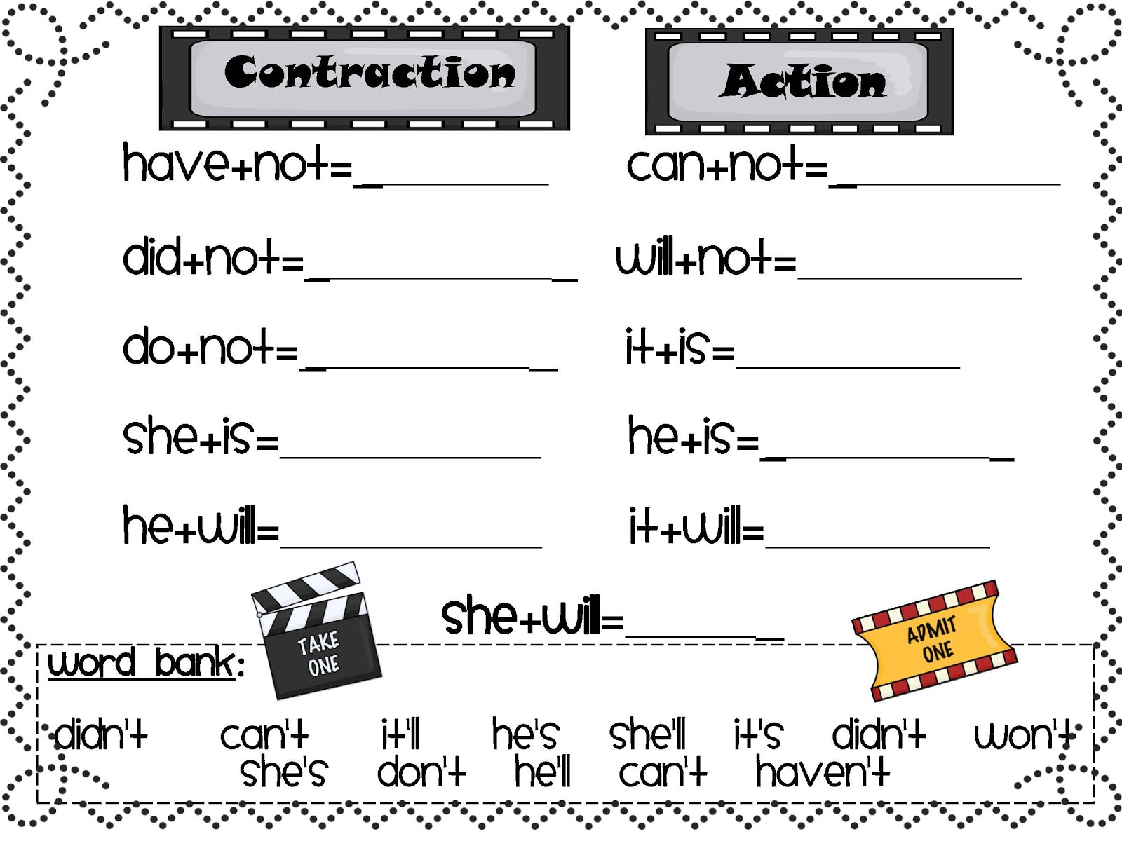 Free Worksheets For Teaching Contractions 1st Grade