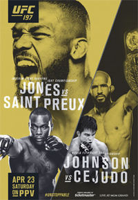 A poster or logo for UFC 197: Jones vs. Saint Preux.