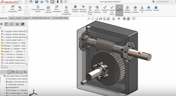 How to create sketch Worm gear Reducer in Solidworks Design