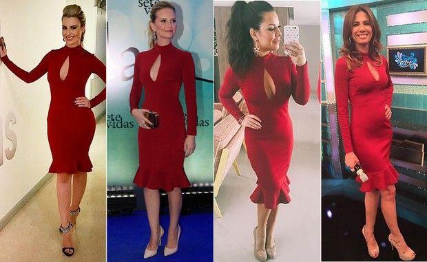 Fernanda Keulla, Fernanda Rodriguez, Fernanda Souza e Luciana Gimenez mesmo vestido
