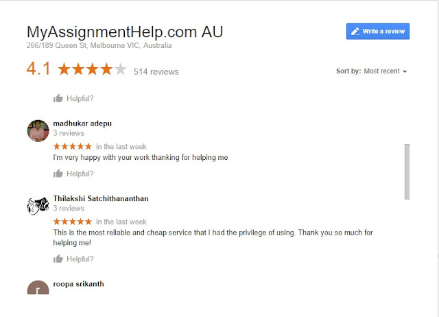 Myassignmenthelp.com Reviews on Google.