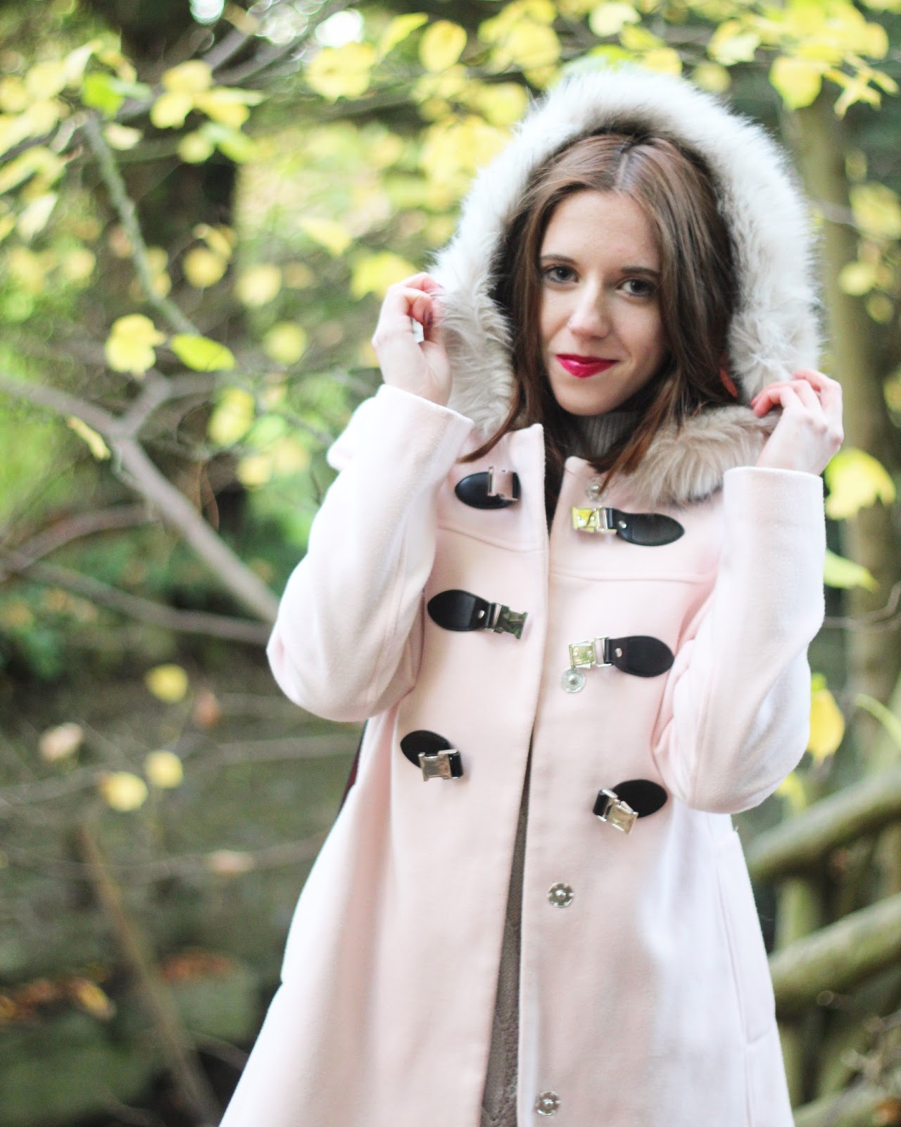 asos winter duffle coats pink