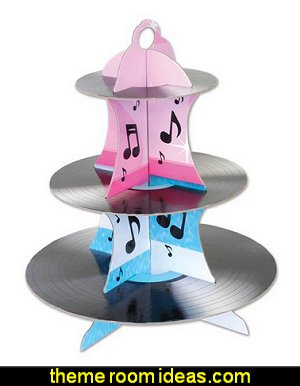 Rock & Roll Record Cupcake Stand  50s party ideas - 50s party decorations - 1950s Theme Party - 1950's Rock and Roll Themed Party Supplies - 50s Rock and Roll Theme Party - 50s party decorations - 50s party props - 50s diner party