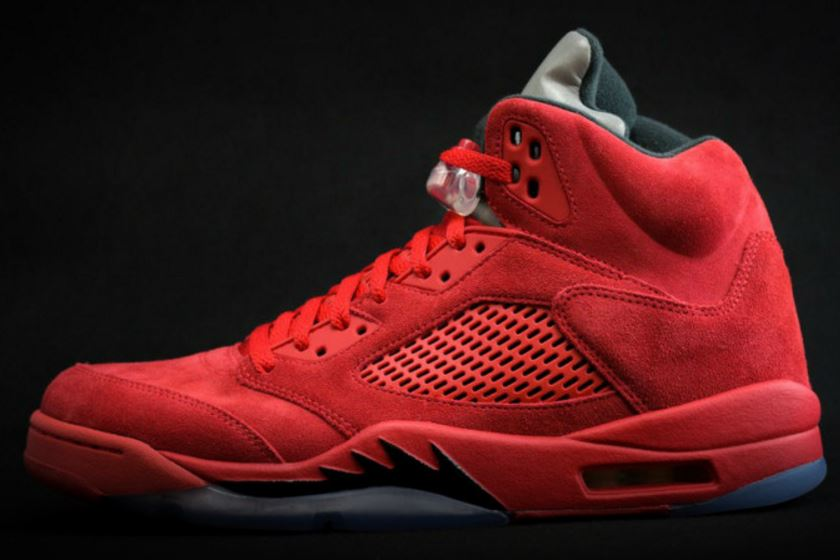 best sneakers 99ed9 6c6d2 ... these new Air Jordan 5 Red Suede Retro Sneaker that should be hitting  retailers later this year with a premium suede upper and a reflective  tongue.