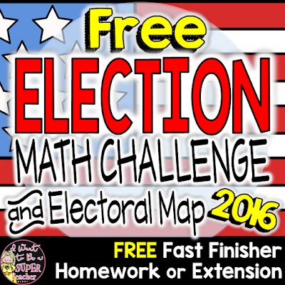 A free 2016 Math Challenge and electoral map perfect for grades 2-4 math groups, homework, fast finisher, or extension.