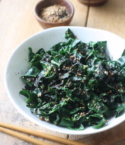 Stir-fried kale with japanese sesame seasoning recipe by seasonwithspice.com