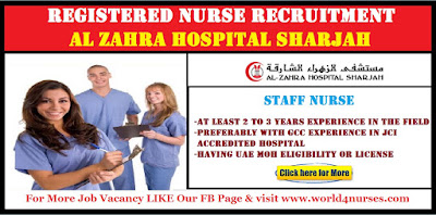 Nurses Vacancies in Al Zhara Hospital ,Sharjah