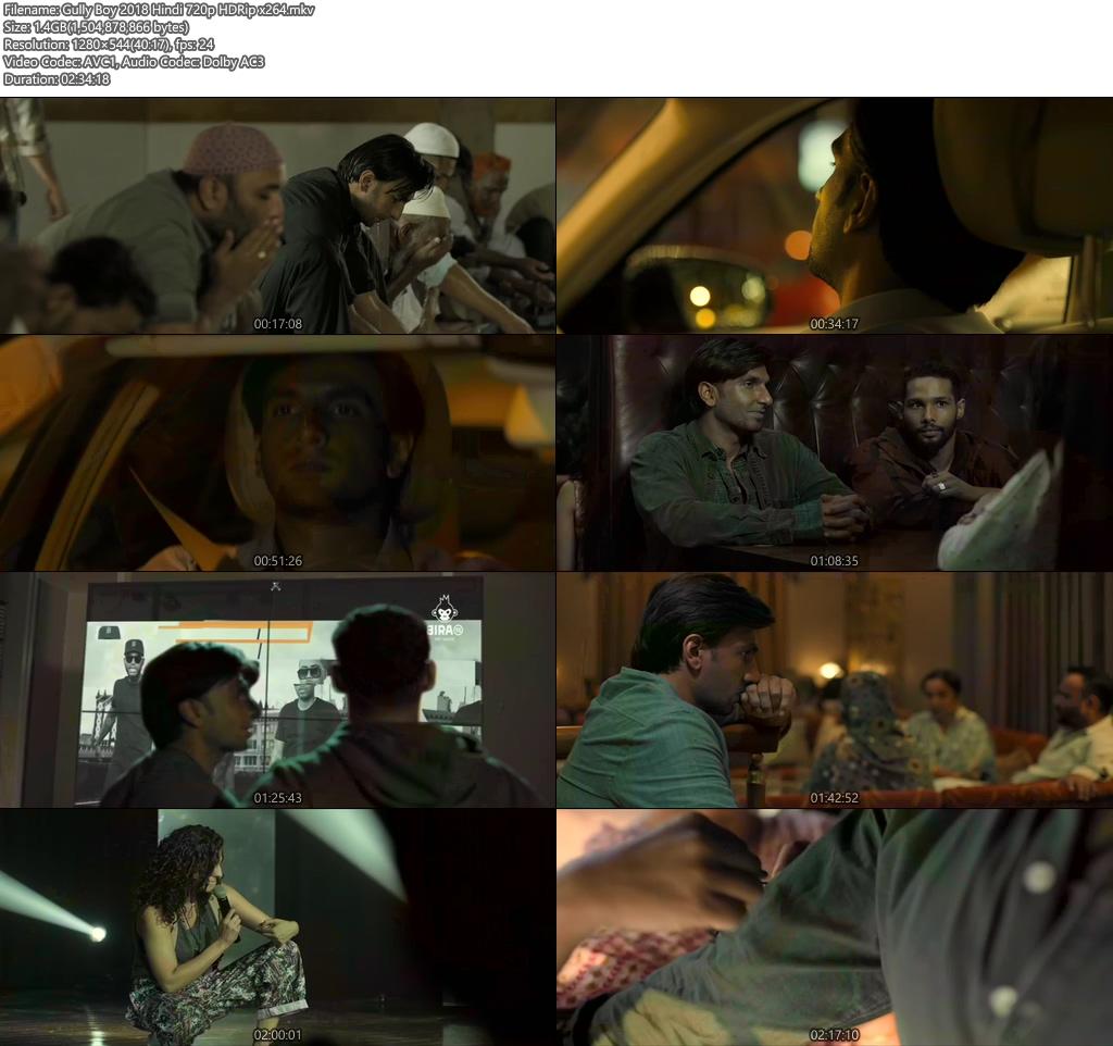 Gully Boy 2018 Hindi 720p HDRip x264   480p 300MB   100MB HEVC Screenshot