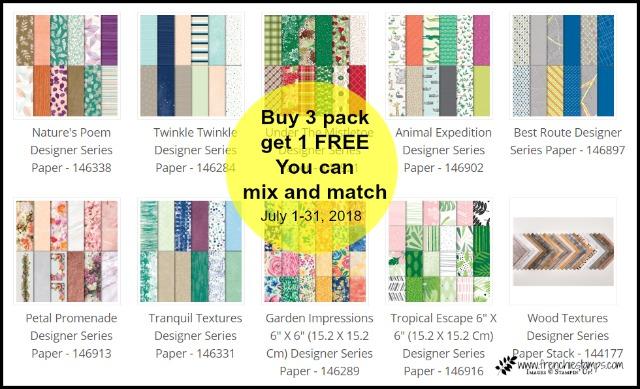 Stampin'Up! Designer Paper buy 3 get 1 free, frenciestamps.com