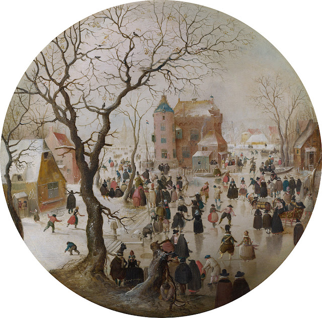 A Winter Scene with Skaters near a Castle, oil on oak, 1609 by the Dutch artist Hendrick Avercamp. Situation Normal, and other stories of The Better Defense. marchmatron.com