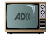 como assistir a tv com audiodescrição: TV antiga com o logotipo da audiodescrição no centro da tela