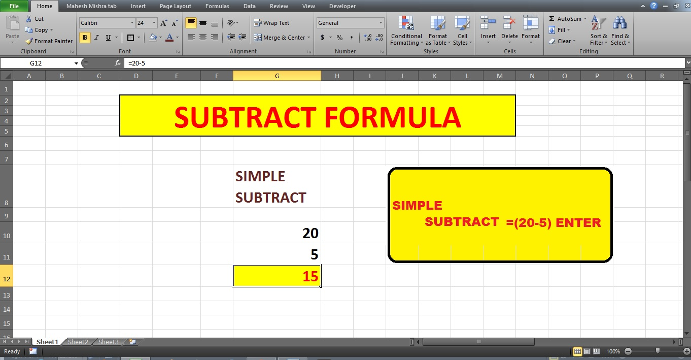 how to write a subtraction function in excel
