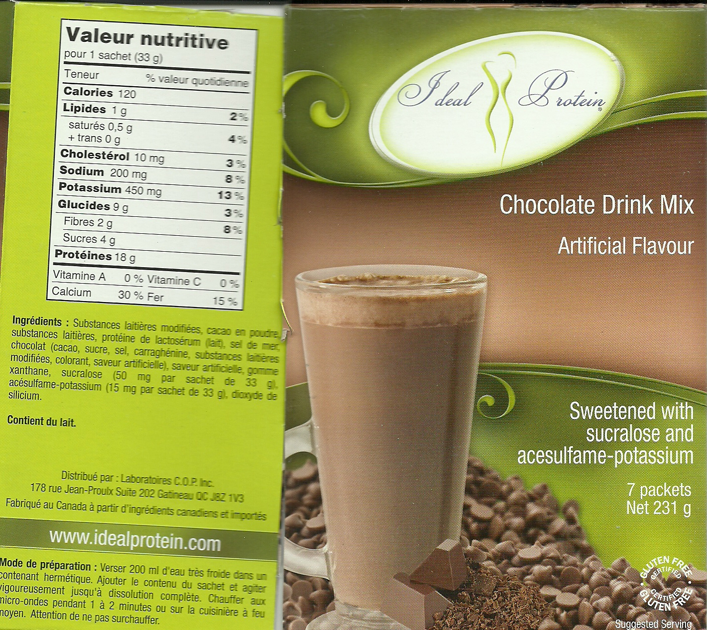Ideal Protein Chocolate Drink Mix Nutrition Facts