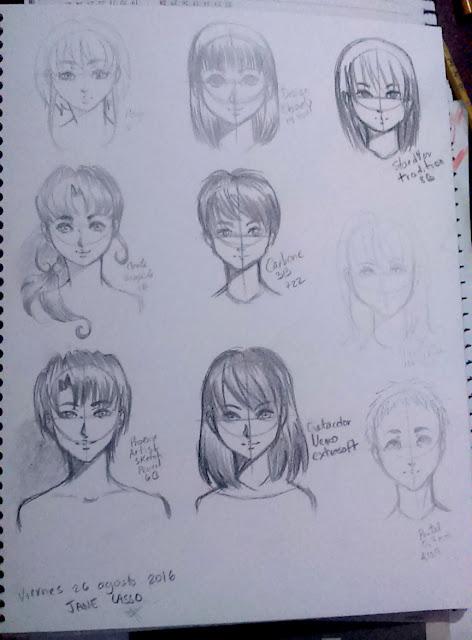 Caras en estilo manga
