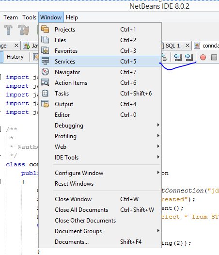 services tab in netbeans