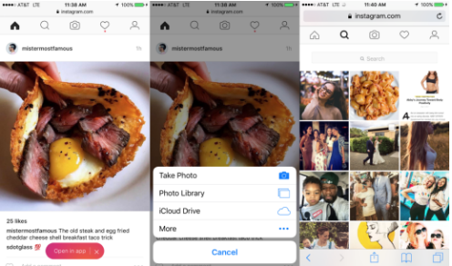 The Instagram Mobile Website Now Lets You Upload Photos, Even from iPad