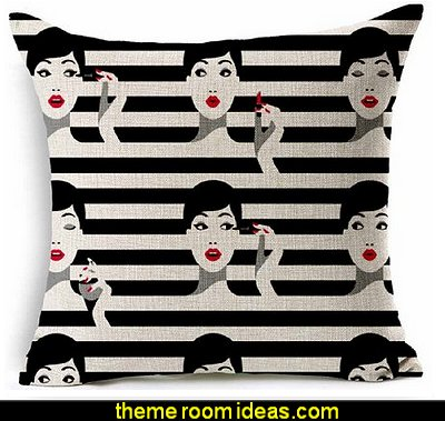 Black and Beige Fashion  Lady eye makeup  throw pillow