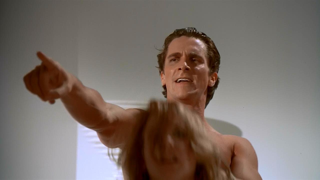 What happens in the american psycho sex scene