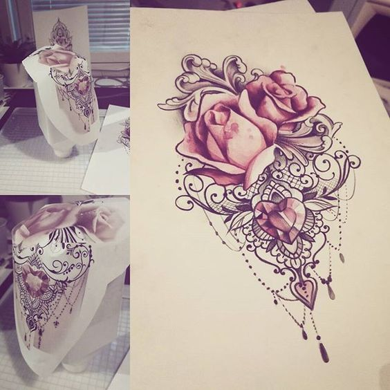 Beautiful Rose Flower Tattoo Designs
