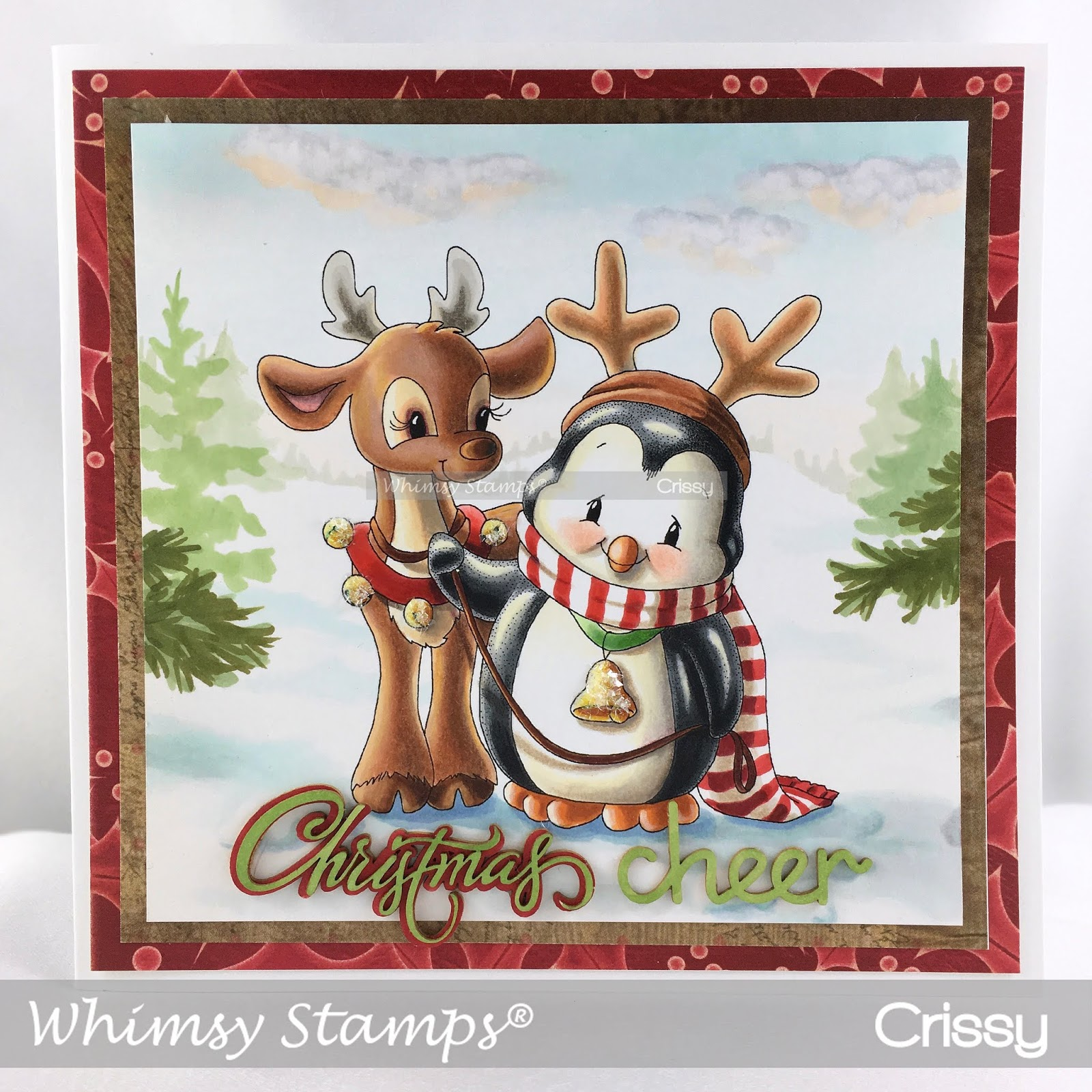 """I have another Christmas card to share today, this one with my rubber  image, """"Penguin and Reindeer Friends"""" from Whimsy Stamps."""