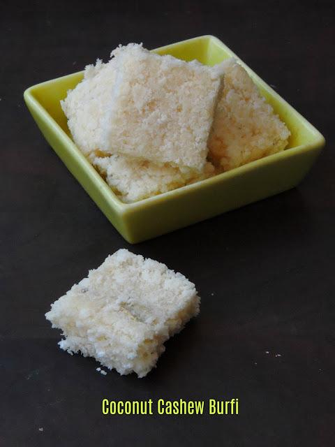 Cashew coconut burfi, Vegan Cashew burfi