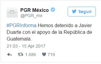 Confirma PGR mediante twitter detencion de Duarte de Ochoa en Guatemala