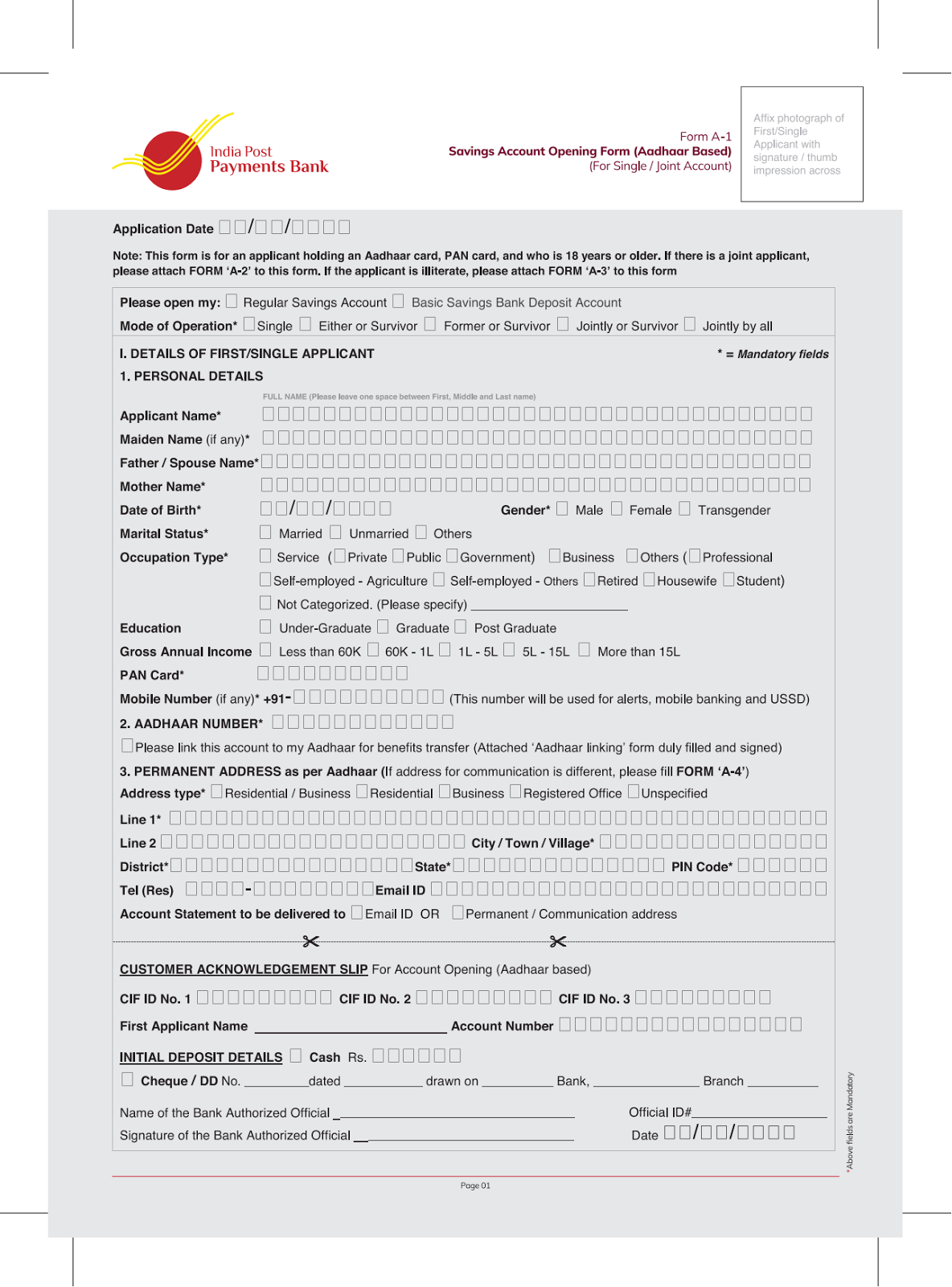 indian bank saving bank account opening form for individual