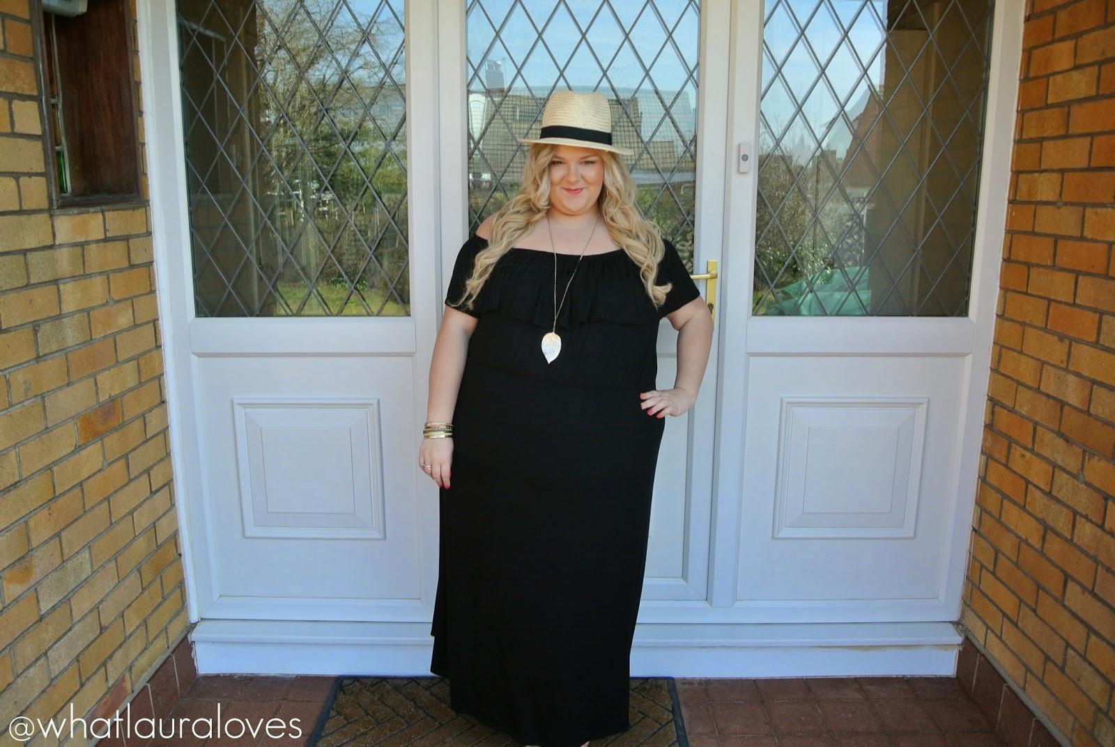125c0d9a3c6 Plus Size Bardot Maxi Dress Straw Fedora Michael Kors Sandals ...