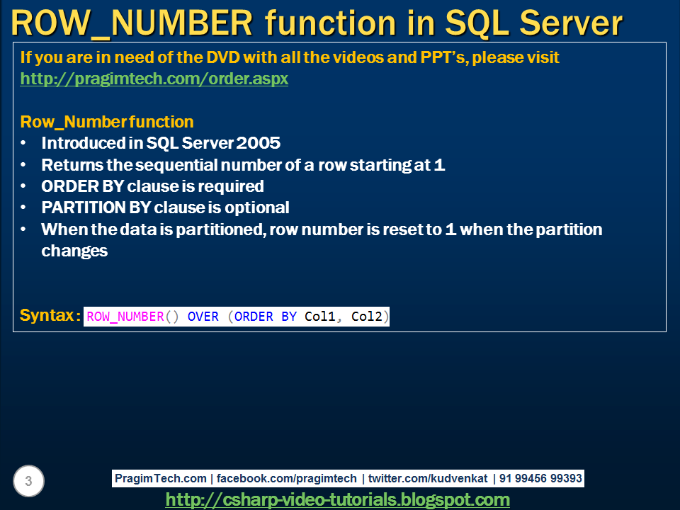 Sql Server Net And C Video Tutorial Row Number Function In Sql Server
