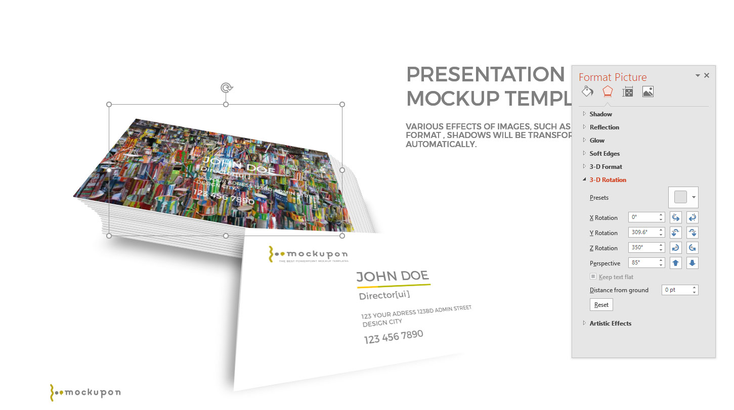 Free powerpoint template with business card mockup infographicon multi layered business card powerpoint mockup templates cheaphphosting Images