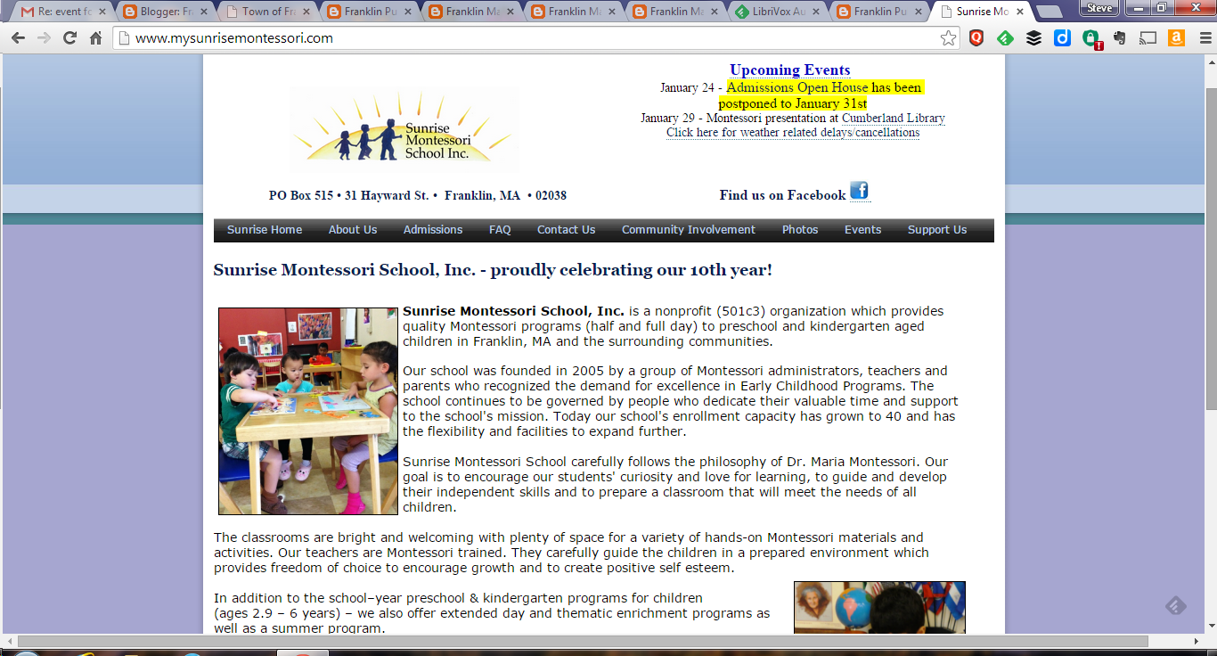 screen grab of Sunrise Montessori webpage