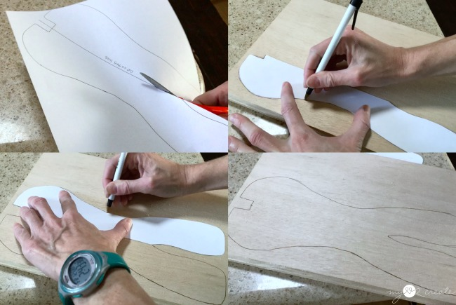 Cut and trace template onto wood to make a reindeer