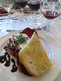 "Tomato & Bocconcini with Balsamic Reduction a top Garlic Focaccia Crostini accompanied by 2009 Côtes du Rhône ""Première Côte"""