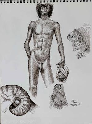 garçon androgyne, esquisse à la plume, encre de chine, dessin, encre,