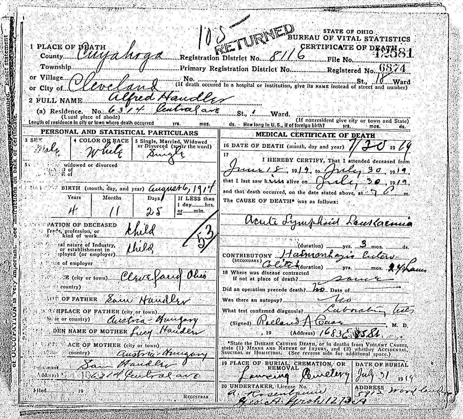 A jewish genealogy journey sympathy saturday a death followed according to sams brother josef handlers naturalization papers josef and lena handlers son alfred was born on august 10 1919 less than two weeks after aiddatafo Choice Image