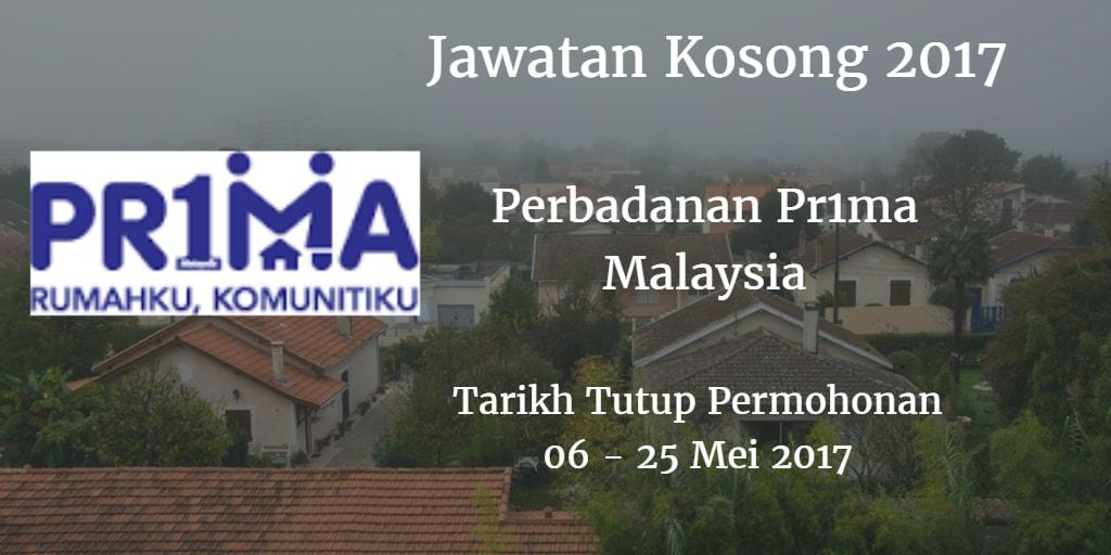 Jawatan Kosong Perbadanan Pr1ma Malaysia 06 - 25 Mei 2017
