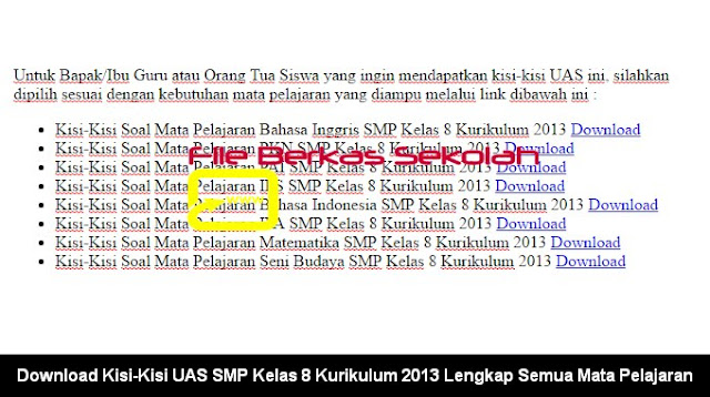 Download Kisi-Kisi UAS SMP Kelas 8 Kurikulum 2013