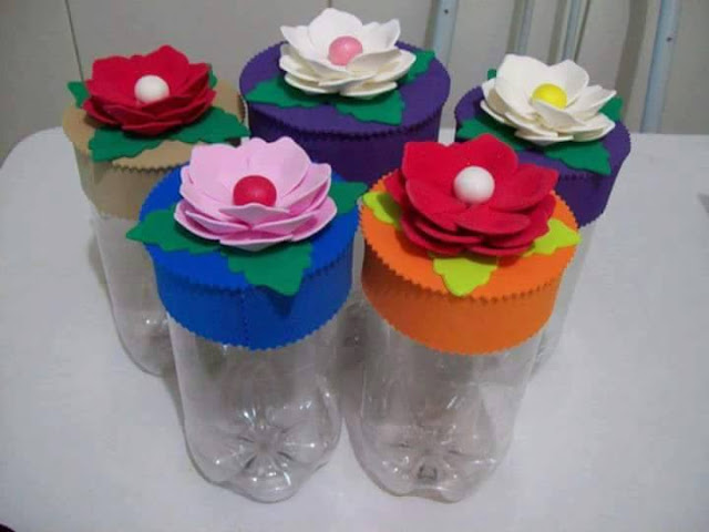 Idea to make something from bottle for kids : flower candy  box