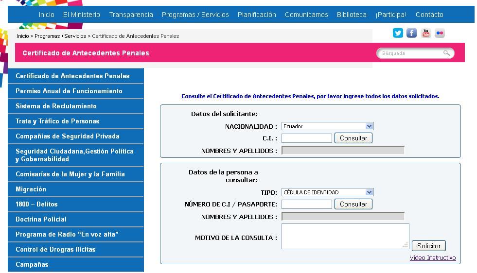Certificado de antecedentes penales ecuador noticias for Web ministerio del interior