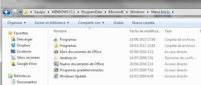 """Directorio donde se guardan los iconos del """"Menú inicio"""" de Windows 7"""