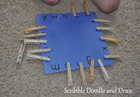 Practice matching letters with this clothespin activity