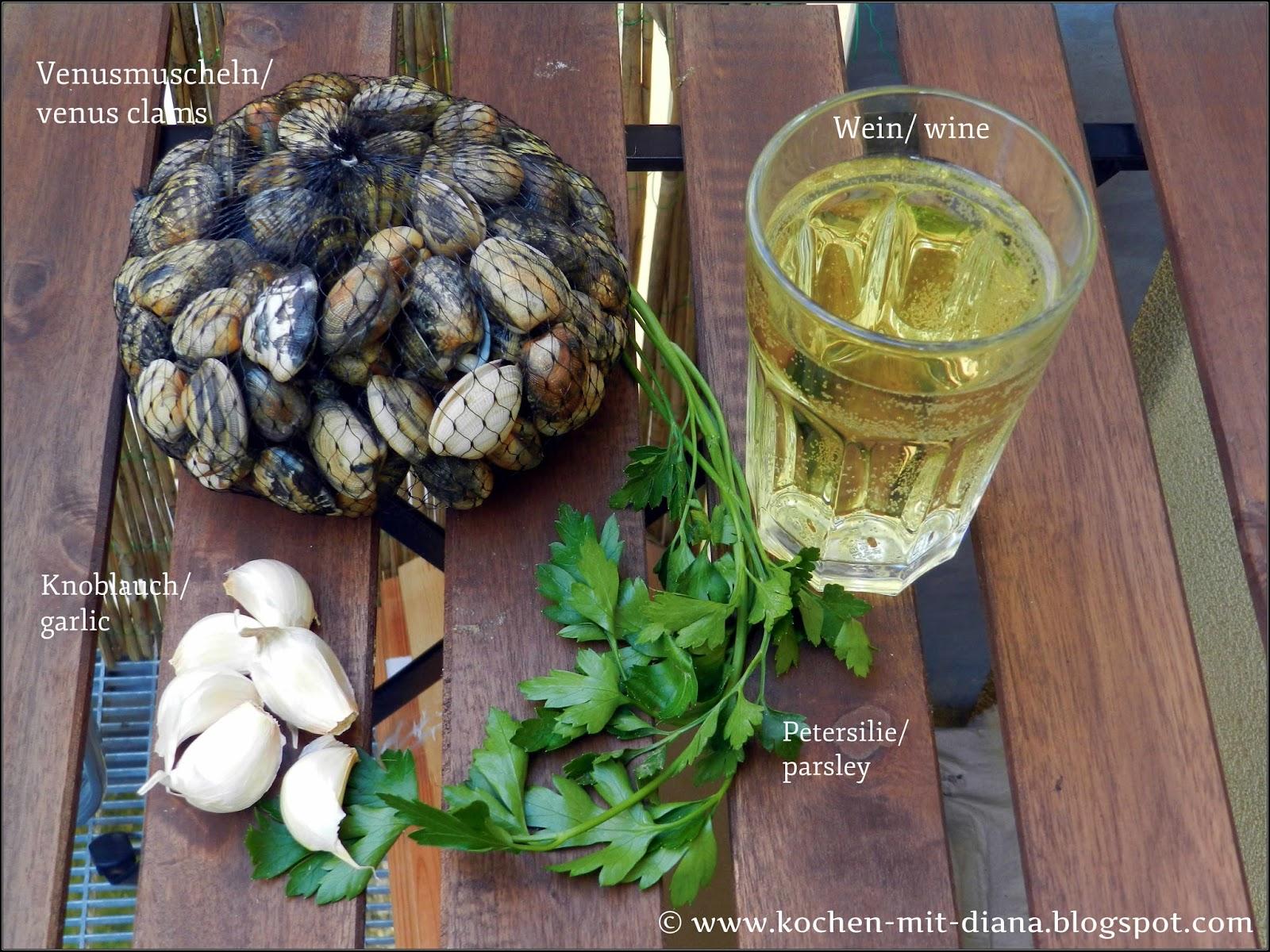 Zutaten Venusmuscheln mit Knoblauch und Olivenöl