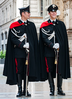 The Carabinieri, the Italian police corps  recognisable for their elaborate uniforms