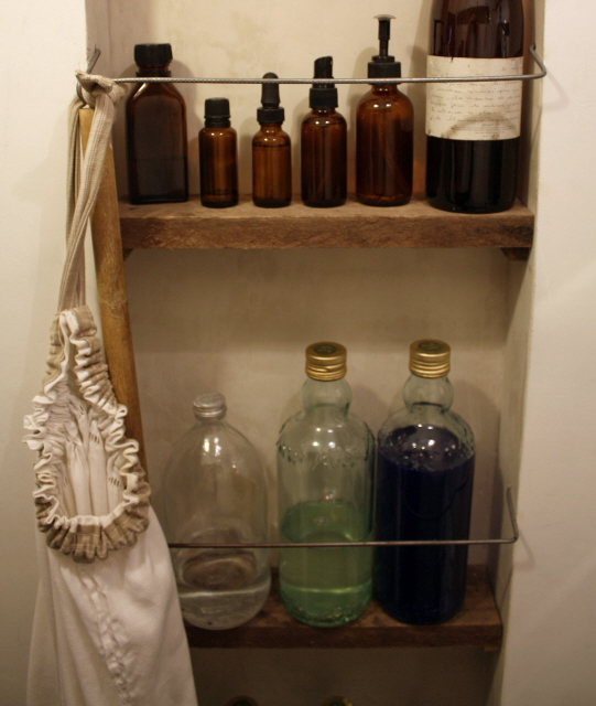 l&l at home:  our laundry room shelves lined with re-purposed bottles, image by lb for linenandlavender.net