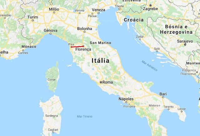 Mapa da viagem de Pisa a Florença